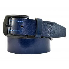 Gunmetal Black Buckle Genuine Leather Casual Belt for Men (Ink Blue)