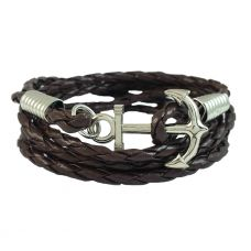 Brass Anchor Multi Strands Brown Faux Braided Leather Bracelet For Men