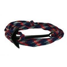 Multicolor Nylon Jet Matte Black Anchor Bracelet for Men
