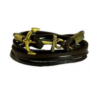Brass Anchor Multi Strands Brown For Men Leather Bracelet For Men