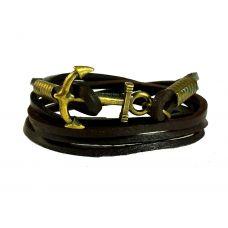 Brass Anchor Multi Strands Brown For Men Leather Bracelet For Men