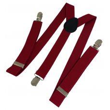 Dark Carmine Red Suspenders for Men