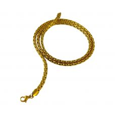 Sleek Wheat Links Gold Foamed Chain Necklace for Men