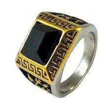 Royal Insignia Greek Symbol Black Stone Ring for Men