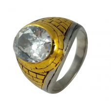 Gold-Foamed Two-Tone Center Solitaire Ring for Men