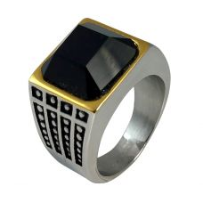 Chunky 3D Black Stone Big and Bold Two-Tone Ring for Men