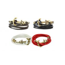 Combo of Four Leather Anchor Bracelets for Men