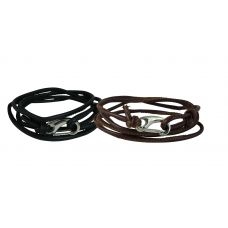 Combo of Black and Brown Stitched Faux Leather Cord Adjustable Bracelet for Men