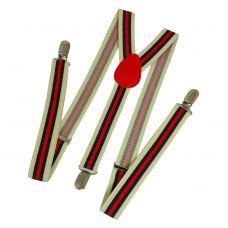 Elegant Stripes Pastel Khaki Suspenders for Men