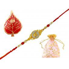 AMVRKI69-Ek Omkar Gold Foamed Badge Rakhi Set