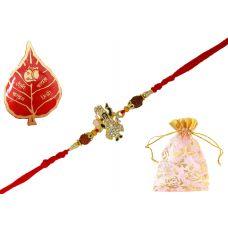 AMVRKI71-Lord Krishna Figurative CZ and Rudraksha Embellished Rakhi