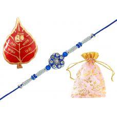 AMVRKI72-Silver and Blue Floral Pattern CZ Embellished Rakhi Set