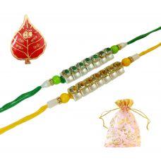 AMVRKI75-Glitter Streaks Combo of 2 Adorable Rakhi Set