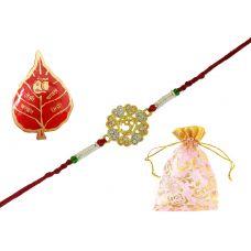 AMVRKI76-Exclusive Gold Foamed OM Badge Rakhi Set