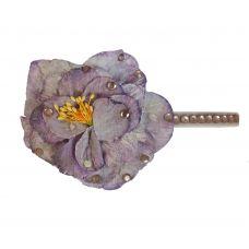 Light Purple Faux Flower CZ Embellished Hair Clip for Women