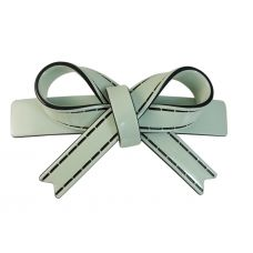 Sleek Bow Pattern Solid Pastel Fern Green Gracious Hair Clip for Women