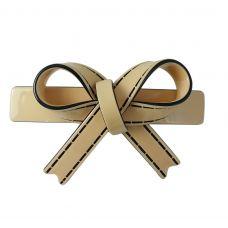 Sleek Bow Pattern Solid Pastel Earth Brown  Gracious Hair Clip for Women