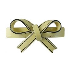 Sleek Bow Pattern Solid Pastel Lime Yellow Gracious Hair Clip for Women