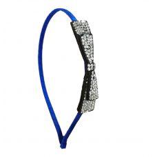 CZ Embellished Long Bow Charm Indigo Blue Sleek Hair Band for Women