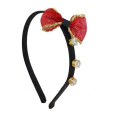 Triple CZ Solitaire Red Bow-Tie Exclusive Party Hair Band for Women