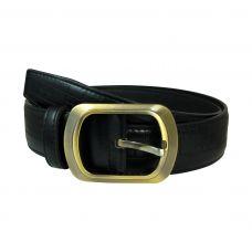 Brass  Buckle Alternate  Square Engravings Black PU Belt for Men