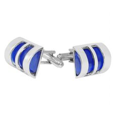 Metal Cage Indigo Blue Cufflinks for Men