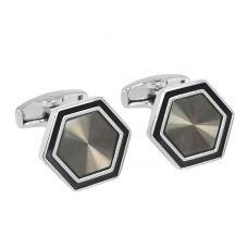 Gloss Grey Impressive Hexagonal Chunky Cufflinks for Men