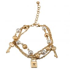 Lock and Key Charm Brass Alloy Lightweight Bracelet for Women