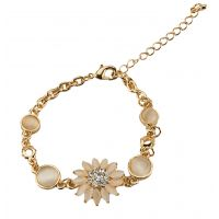 Flower Charm Inlaid Stone Gold Foamed Sleek Adjustable Bracelet for Women