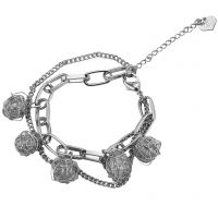 Alloy Mesh Ball Charm Rhodium Plated G-Silver Sleek Bracelet for Women