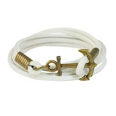 Brass Anchor Multi Strands White Leather Bracelet