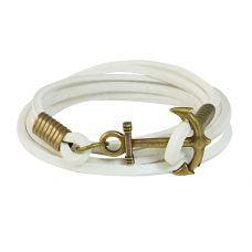 Brass Anchor Multi Strands White Leather Bracelet