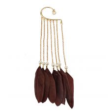 Maroon Feather and Pearls Adorable  Multi Tassled Chain Non-Piercing Single Ear Cuff