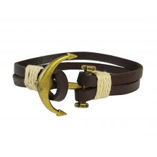Genuine Leather Double Stranded Brass Anchor Brown Bracelet