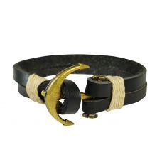 Genuine Leather Double Stranded Brass Anchor Black Bracelet