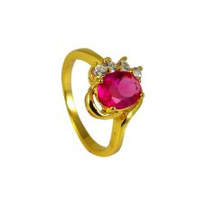 Oval Faux Ruby Stone  CZ Ornated Impressive Gold Foamed Ring for Women