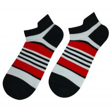 Pair of Striped Pattern Combed Cotton Ankle Socks for Men
