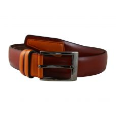 Rust Brown Orange Patch Tough and Durable PU Leather Belt for Men
