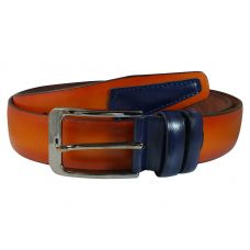 Terracotta Brown Blue Patch Tough and Durable PU Leather Belt for Men