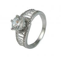 Raised Solitaire Gracious German Silver Exclusive Ring for Women