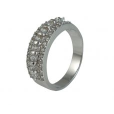 CZ Embellished Rhodium Plated German Silver Semi-Band Ring for Women