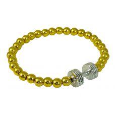 Gold Foamed Metallic Beads Silver Dumbbell Charm Bracelet for Men