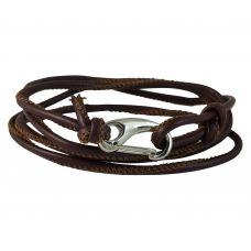 Stitched Faux Leather Cord Adjustable Brown Bracelet for Men