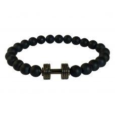 Plated Dumbbell Charm Matte Finish Ceramic Beads Free Size Bracelet for Men