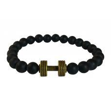 Plated Brass Alloy Dumbbell Charm Matte Finish Ceramic Beads Free Size Bracelet for Men