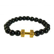 Gold Plated Dumbbell Charm Gloss Finish Ceramic Beads Free Size Bracelet for Men