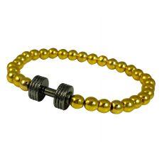Gold Foamed Metallic Beads Electro-Black Dumbbell Charm Bracelet for Men