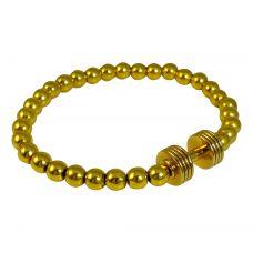 Gold Foamed Metallic Beads Gold-Plated Dumbbell Charm Bracelet for Men