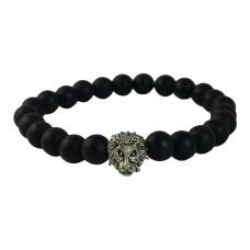 Tiny Lionhead Charm Matte Finish Ceramic Stone Beads Bracelet for Men