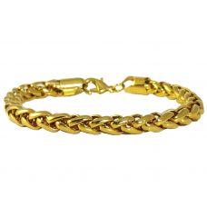 10 mm Gold Foamed Sleek Links Stainless Steel Bracelet for Men